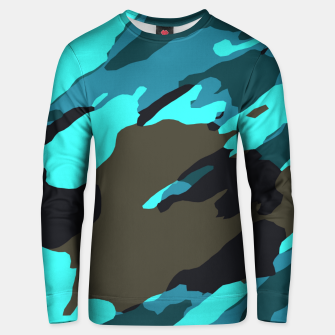 Thumbnail image of camouflage splash painting abstract in green brown blue Unisex sweater, Live Heroes