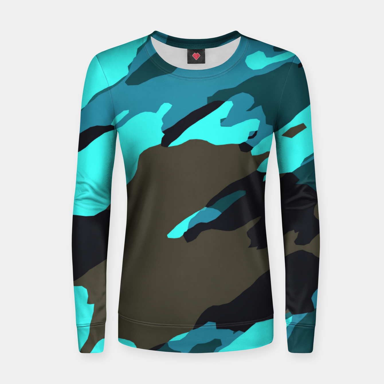 Image of camouflage splash painting abstract in green brown blue Women sweater - Live Heroes