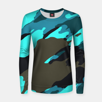 Thumbnail image of camouflage splash painting abstract in green brown blue Women sweater, Live Heroes