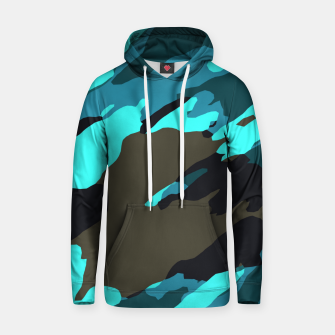 Thumbnail image of camouflage splash painting abstract in green brown blue Hoodie, Live Heroes