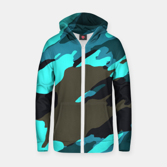Thumbnail image of camouflage splash painting abstract in green brown blue Zip up hoodie, Live Heroes