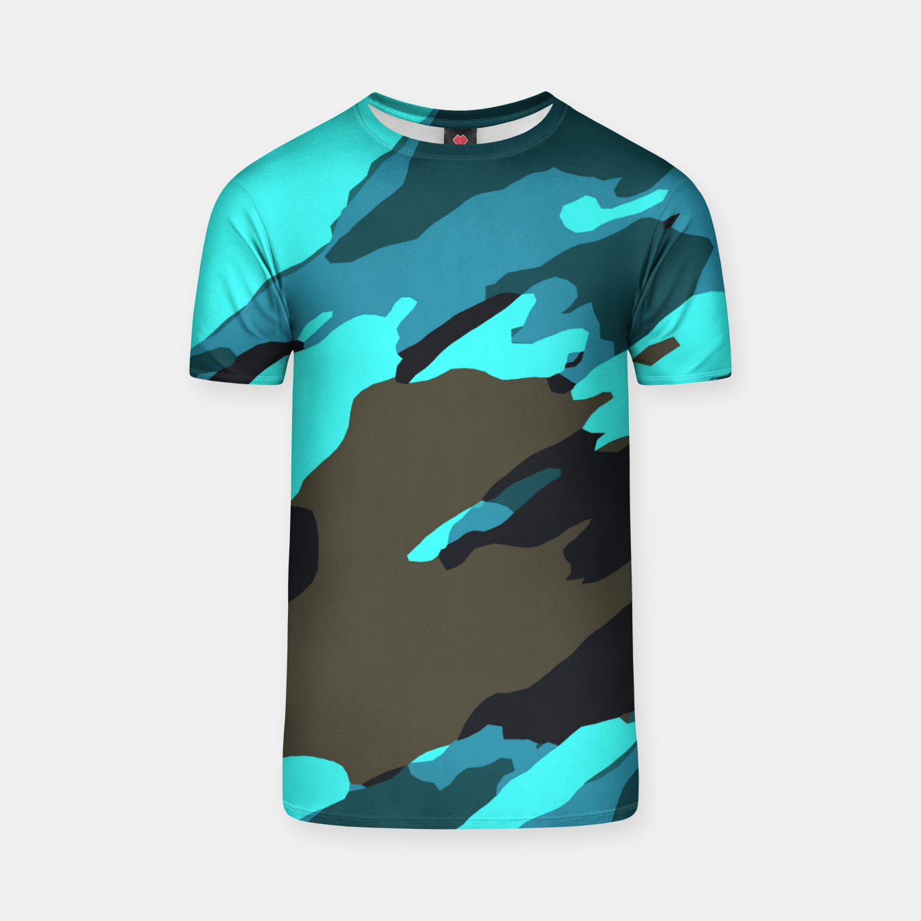 Image of camouflage splash painting abstract in green brown blue T-shirt - Live Heroes
