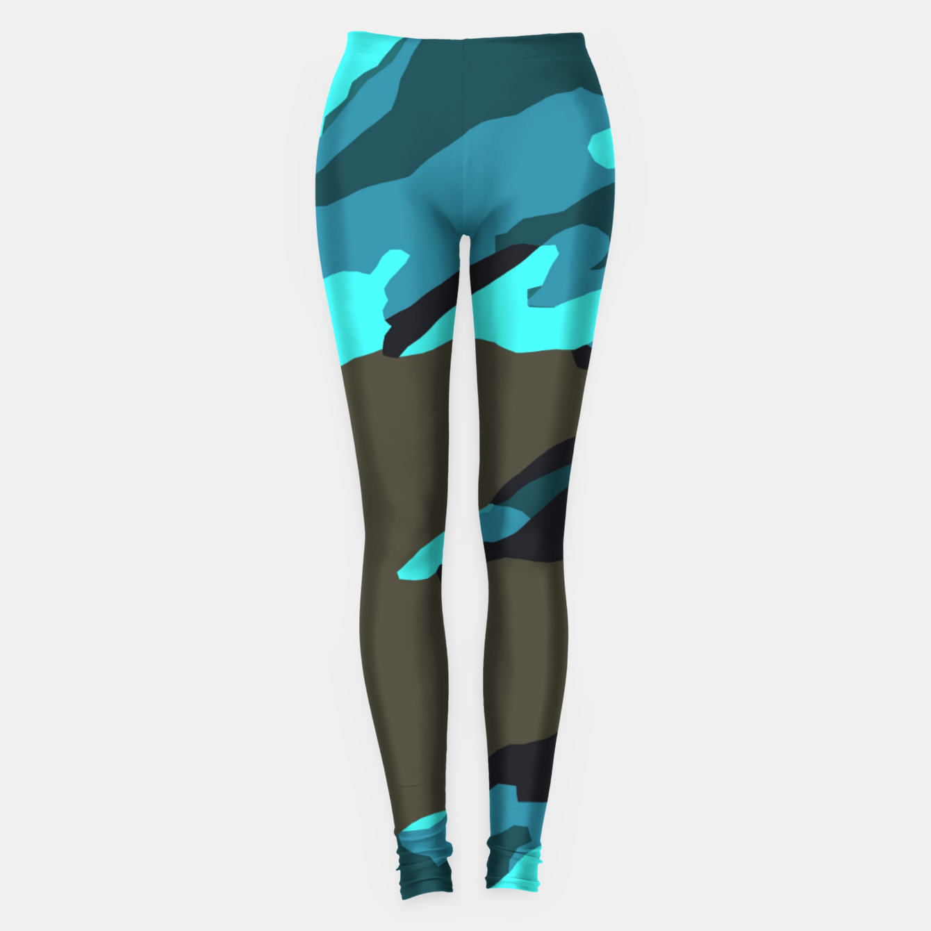 Image of camouflage splash painting abstract in green brown blue Leggings - Live Heroes