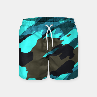 Thumbnail image of camouflage splash painting abstract in green brown blue Swim Shorts, Live Heroes