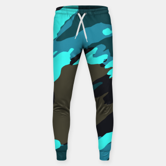 Thumbnail image of camouflage splash painting abstract in green brown blue Sweatpants, Live Heroes