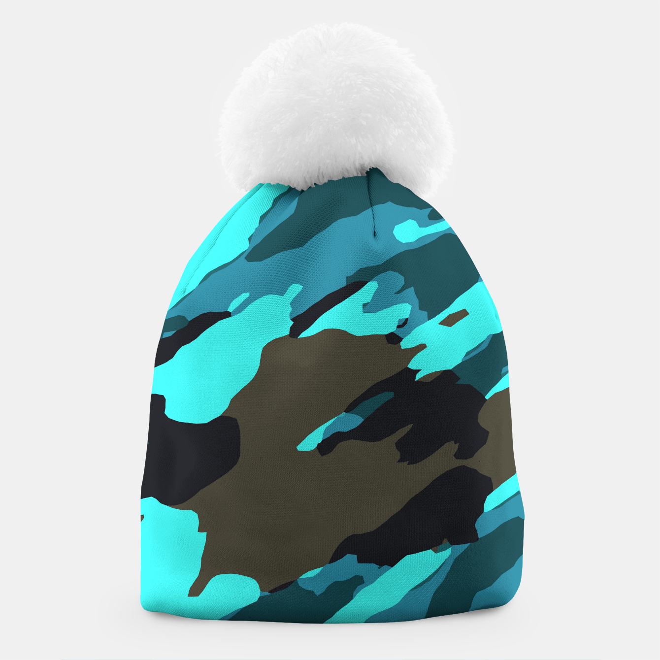 Image of camouflage splash painting abstract in green brown blue Beanie - Live Heroes
