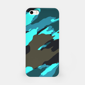 Thumbnail image of camouflage splash painting abstract in green brown blue iPhone Case, Live Heroes