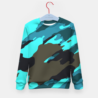 Thumbnail image of camouflage splash painting abstract in green brown blue Kid's sweater, Live Heroes