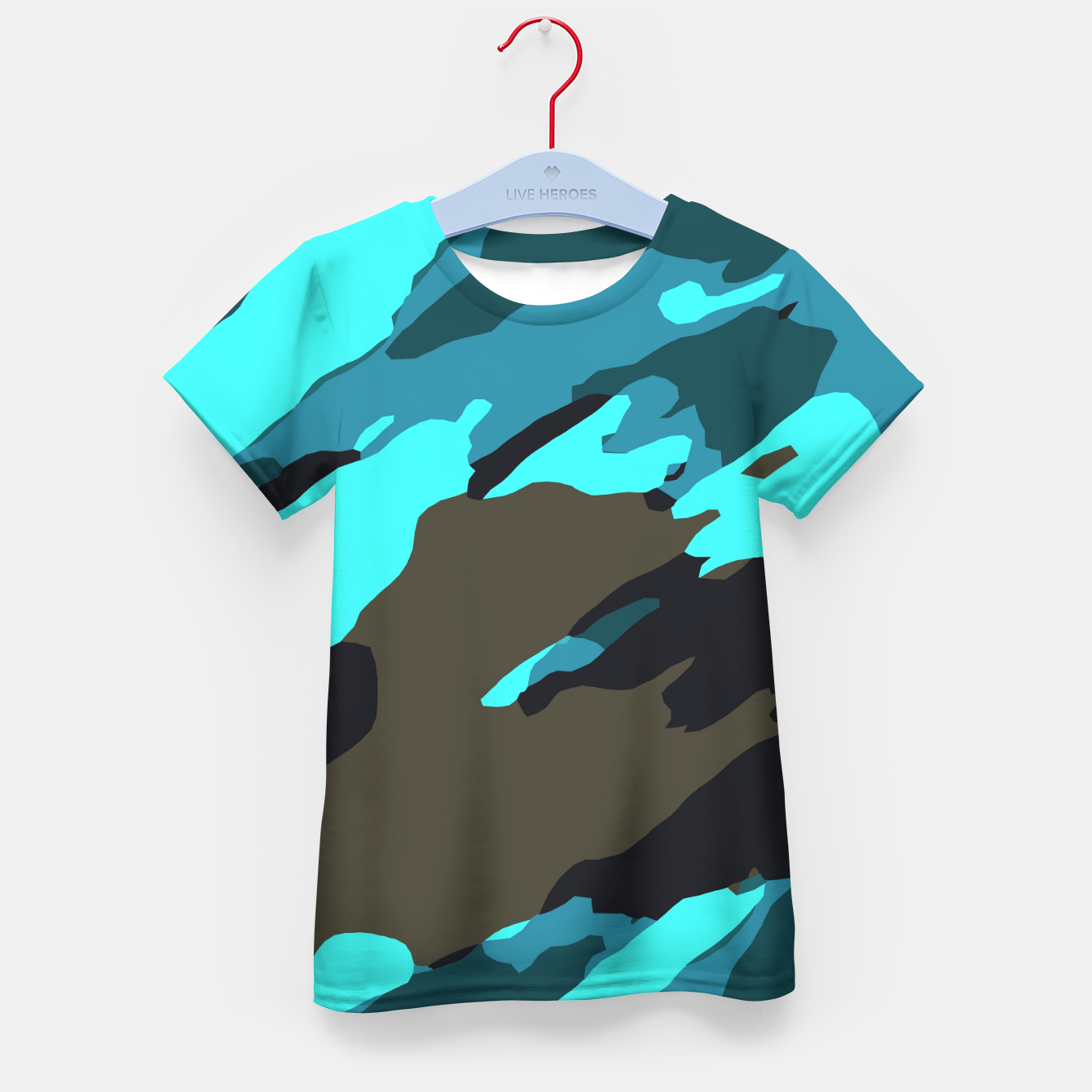 Image of camouflage splash painting abstract in green brown blue Kid's t-shirt - Live Heroes