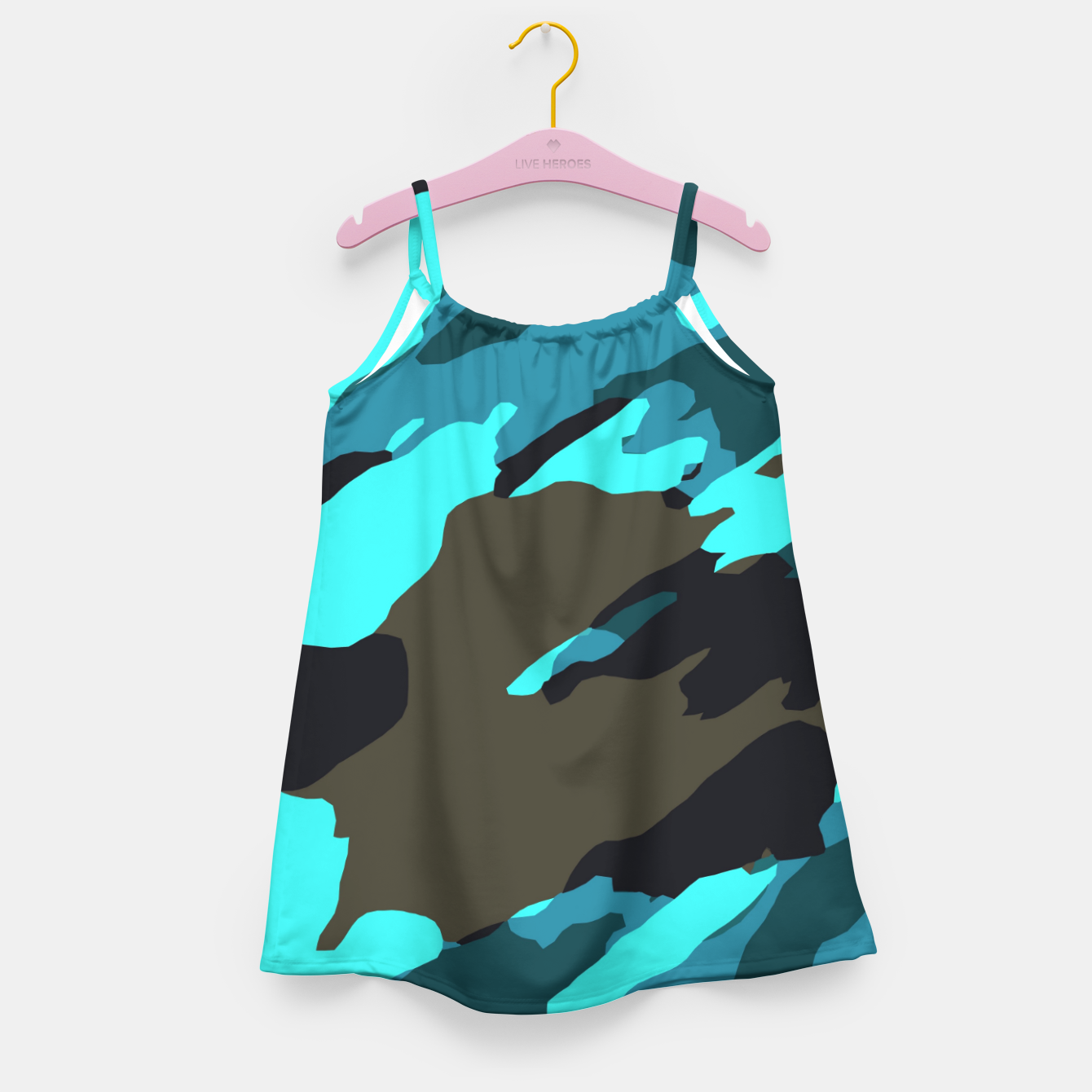Image of camouflage splash painting abstract in green brown blue Girl's dress - Live Heroes