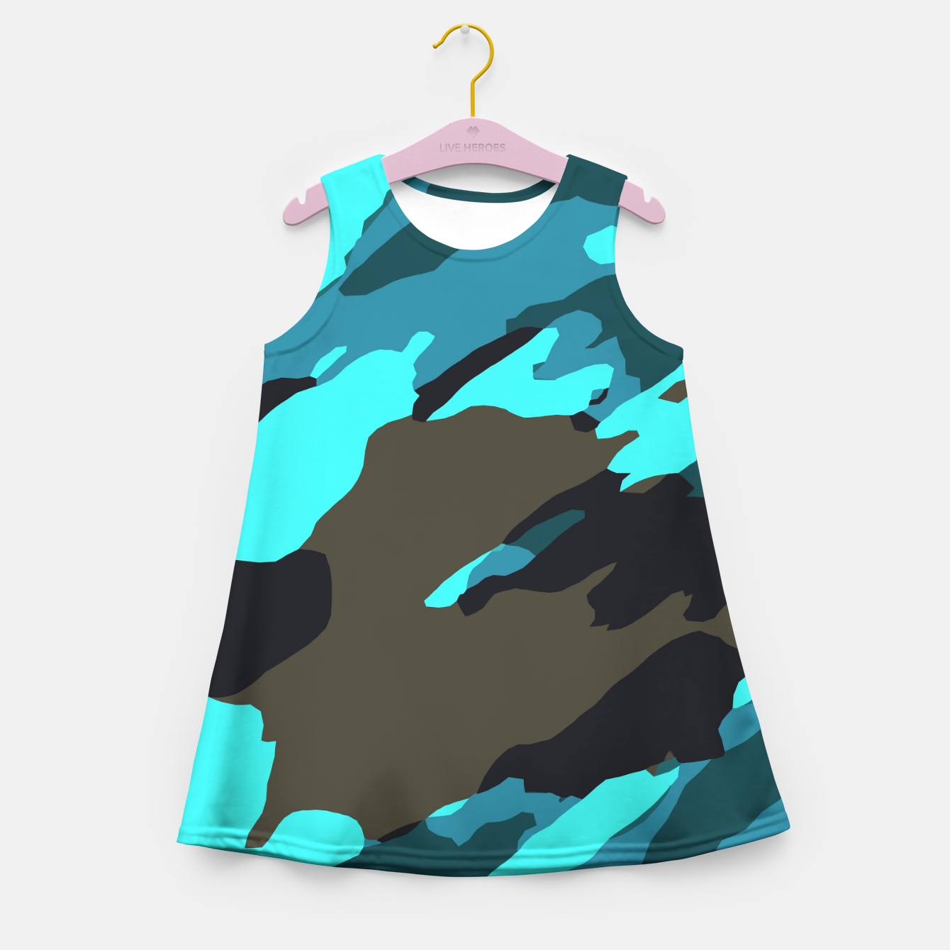 Image of camouflage splash painting abstract in green brown blue Girl's summer dress - Live Heroes