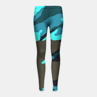 Thumbnail image of camouflage splash painting abstract in green brown blue Girl's leggings, Live Heroes