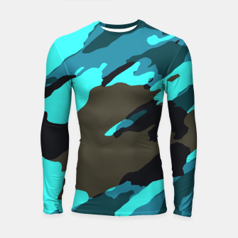 Thumbnail image of camouflage splash painting abstract in green brown blue Longsleeve rashguard , Live Heroes