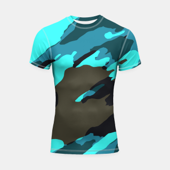 Thumbnail image of camouflage splash painting abstract in green brown blue Shortsleeve rashguard, Live Heroes