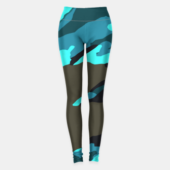 Thumbnail image of camouflage splash painting abstract in green brown blue Leggings, Live Heroes