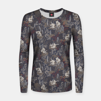 Thumbnail image of Bathing kitties in ochre tropical lush Women sweater, Live Heroes