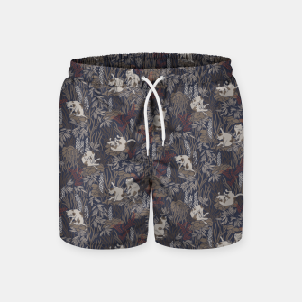 Thumbnail image of Bathing kitties in ochre tropical lush Swim Shorts, Live Heroes