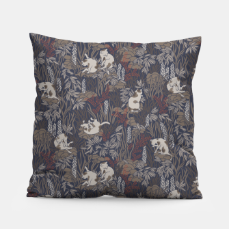 Thumbnail image of Bathing kitties in ochre tropical lush Pillow, Live Heroes