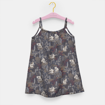 Thumbnail image of Bathing kitties in ochre tropical lush Girl's dress, Live Heroes