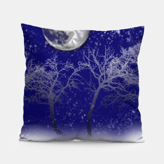 Thumbnail image of Blue Moon Snow Trees Pillow, Live Heroes