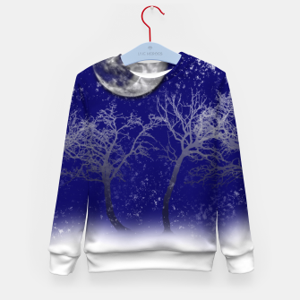 Thumbnail image of Blue Moon Snow Trees Kid's sweater, Live Heroes