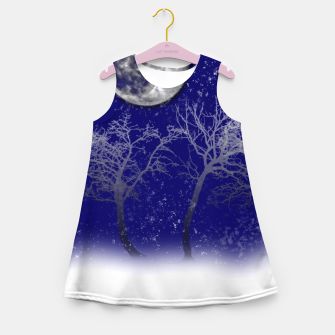 Miniatur Blue Moon Snow Trees Girl's summer dress, Live Heroes