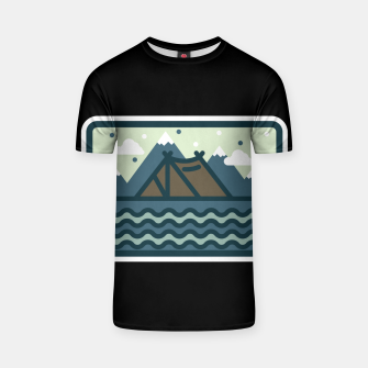 Camp Mountain Beach View T-shirt Bild der Miniatur
