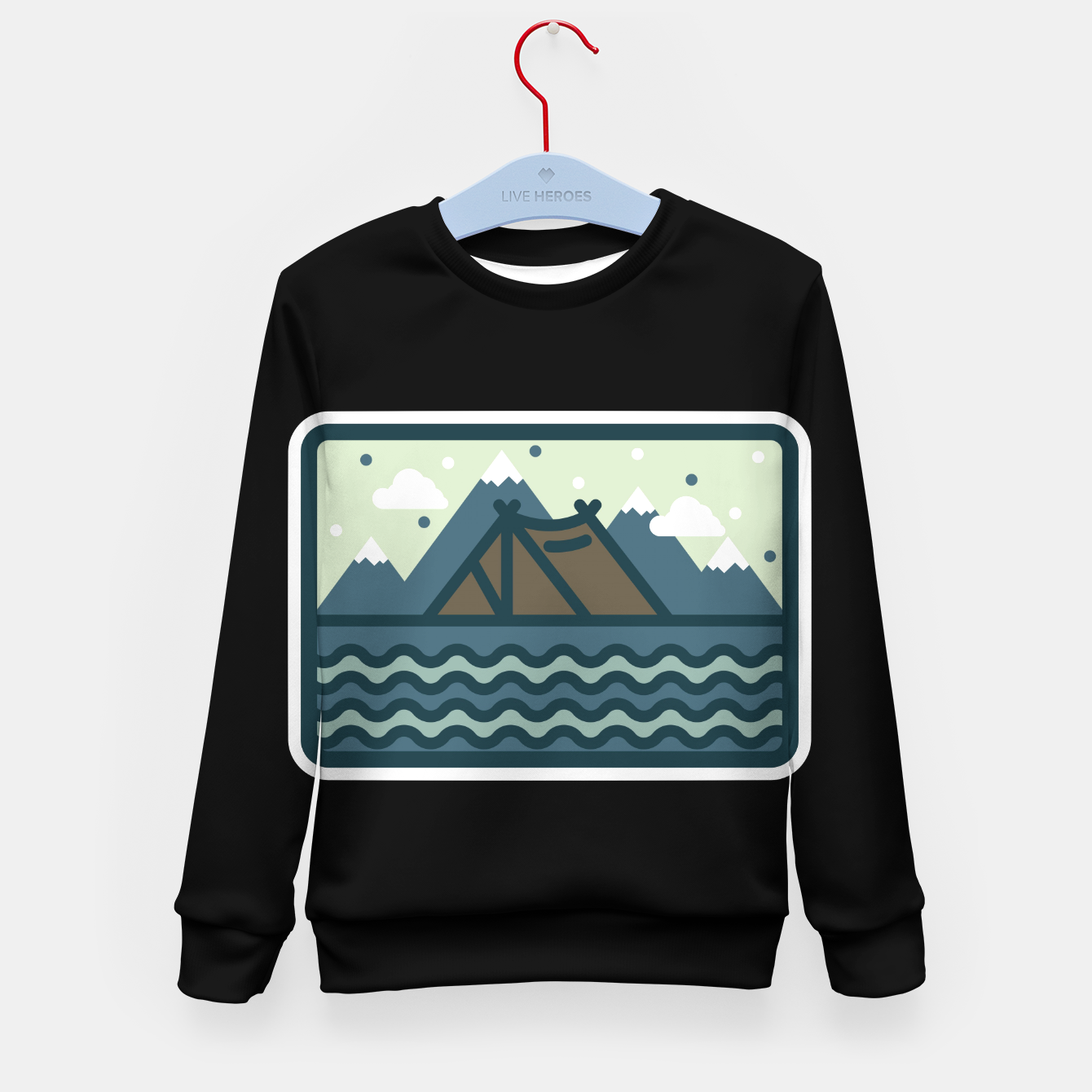 Foto Camp Mountain Beach View Kid's sweater - Live Heroes
