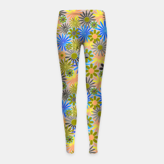 Miniaturka Yellow and Blue Daisies Girl's leggings, Live Heroes