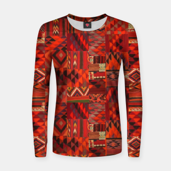 Thumbnail image of Boho Traditional Moroccan Red Collage Style Artwork Women sweater, Live Heroes