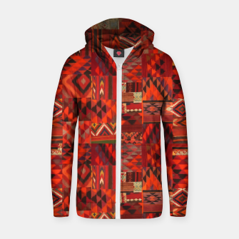 Thumbnail image of Boho Traditional Moroccan Red Collage Style Artwork Zip up hoodie, Live Heroes