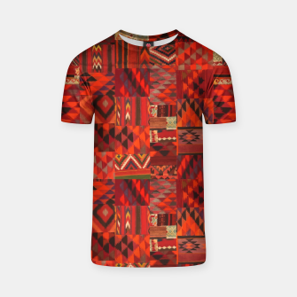 Thumbnail image of Boho Traditional Moroccan Red Collage Style Artwork T-shirt, Live Heroes