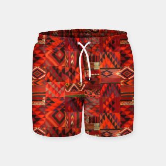 Thumbnail image of Boho Traditional Moroccan Red Collage Style Artwork Swim Shorts, Live Heroes