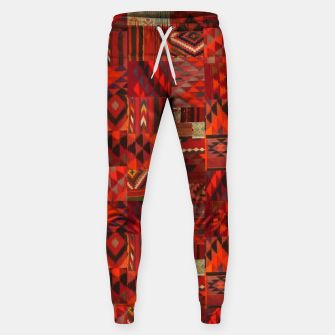 Thumbnail image of Boho Traditional Moroccan Red Collage Style Artwork Sweatpants, Live Heroes