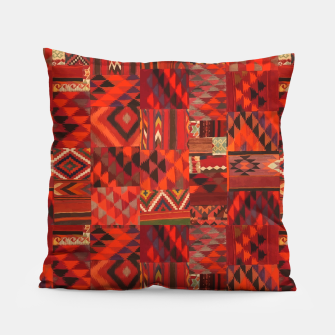 Thumbnail image of Boho Traditional Moroccan Red Collage Style Artwork Pillow, Live Heroes