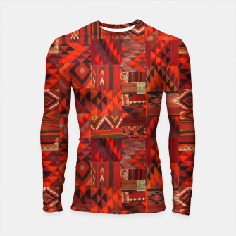 Thumbnail image of Boho Traditional Moroccan Red Collage Style Artwork Longsleeve rashguard , Live Heroes