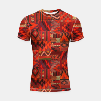 Thumbnail image of Boho Traditional Moroccan Red Collage Style Artwork Shortsleeve rashguard, Live Heroes