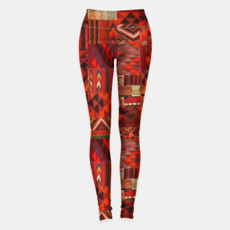 Thumbnail image of Boho Traditional Moroccan Red Collage Style Artwork Leggings, Live Heroes