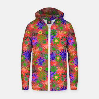 Peach and Purple Daisies Zip up hoodie thumbnail image