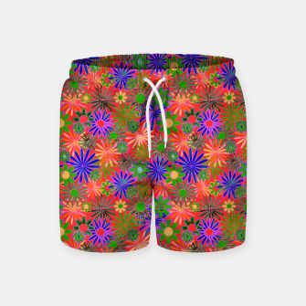 Peach and Purple Daisies Swim Shorts thumbnail image