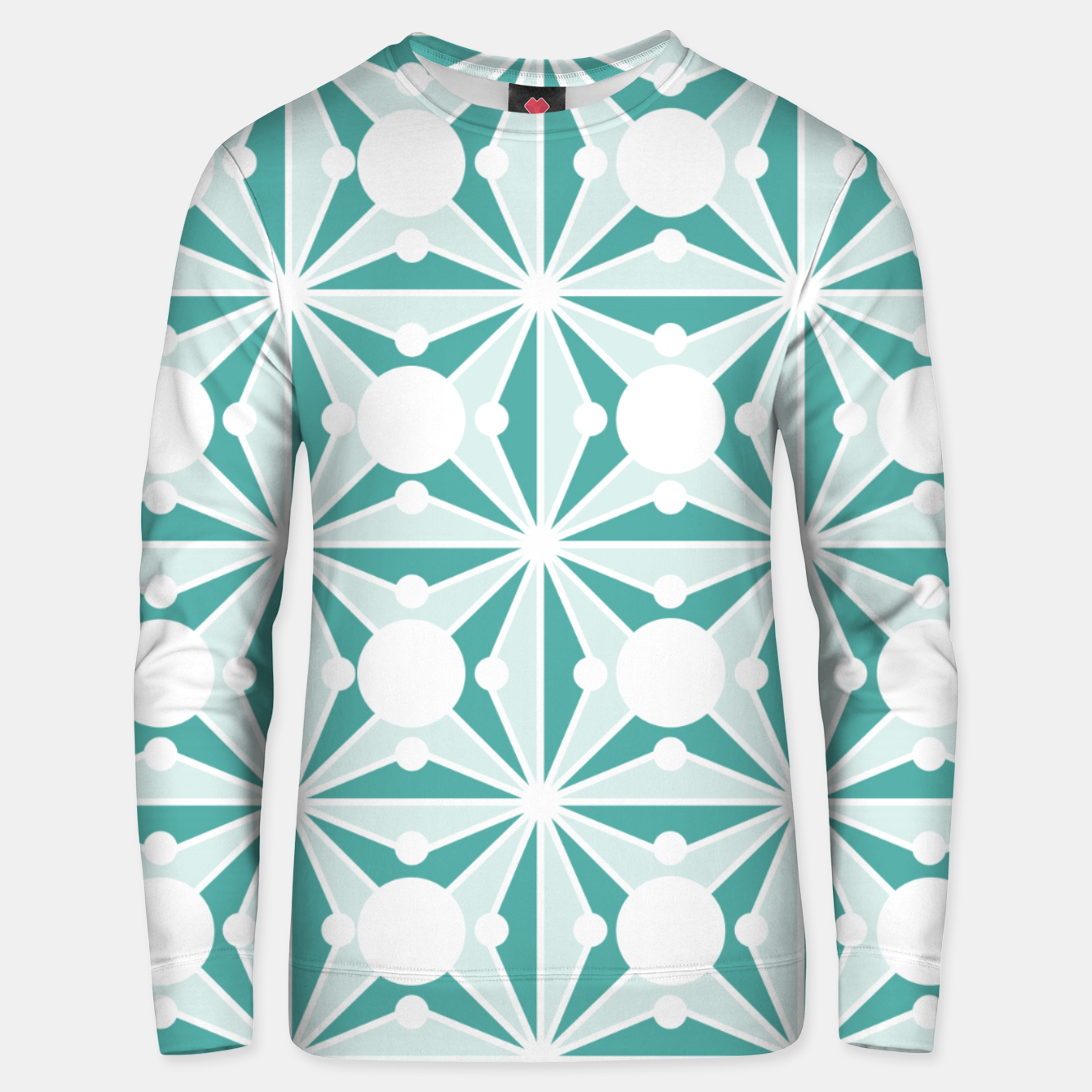 Image of Abstract geometric pattern - green and white. Unisex sweater - Live Heroes