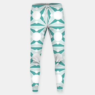 Abstract geometric pattern - green and white. Sweatpants thumbnail image