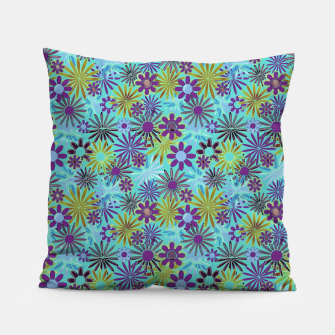 Blue and Purple Daisies Pillow thumbnail image