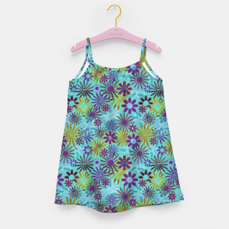 Blue and Purple Daisies Girl's dress thumbnail image