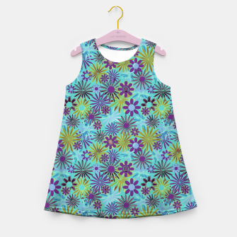 Blue and Purple Daisies Girl's summer dress thumbnail image