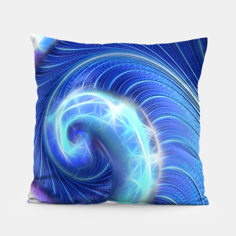 Blue Sparkle Fractal Wave Pillow thumbnail image