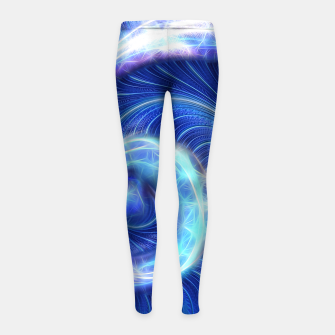 Blue Sparkle Fractal Wave Girl's leggings thumbnail image