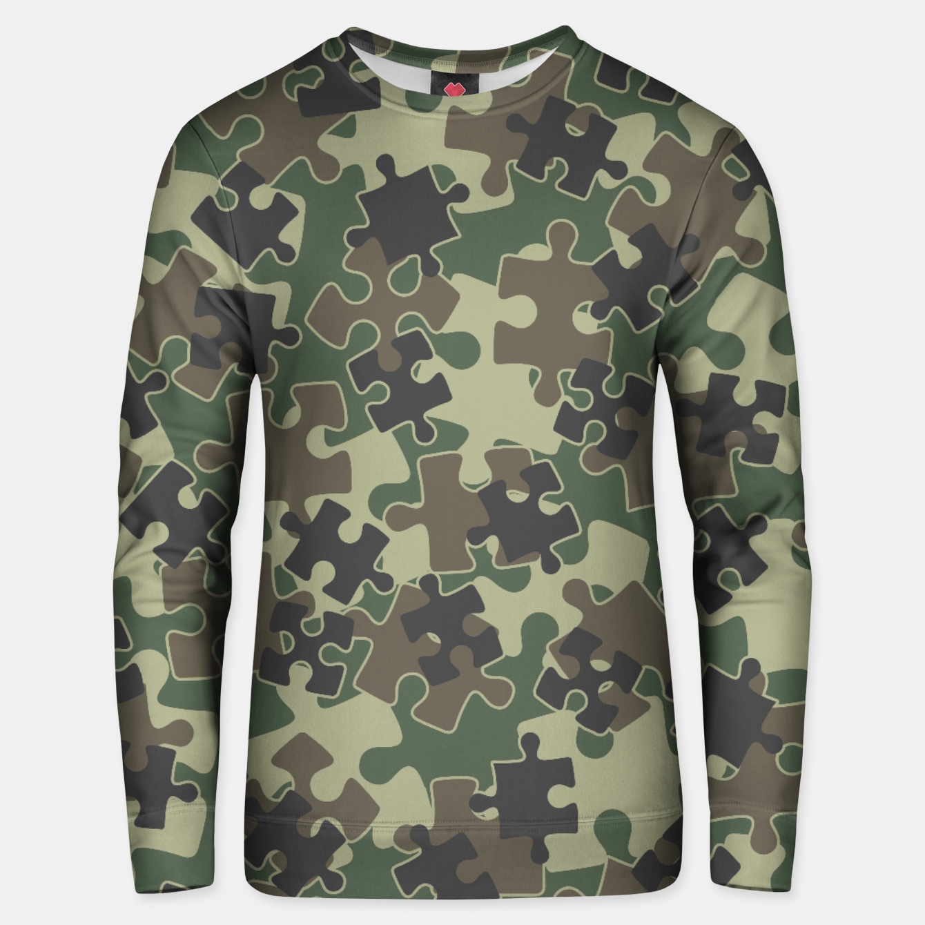 Image of Jigsaw Puzzle Pieces Camo WOODLAND GREEN Unisex sweater - Live Heroes