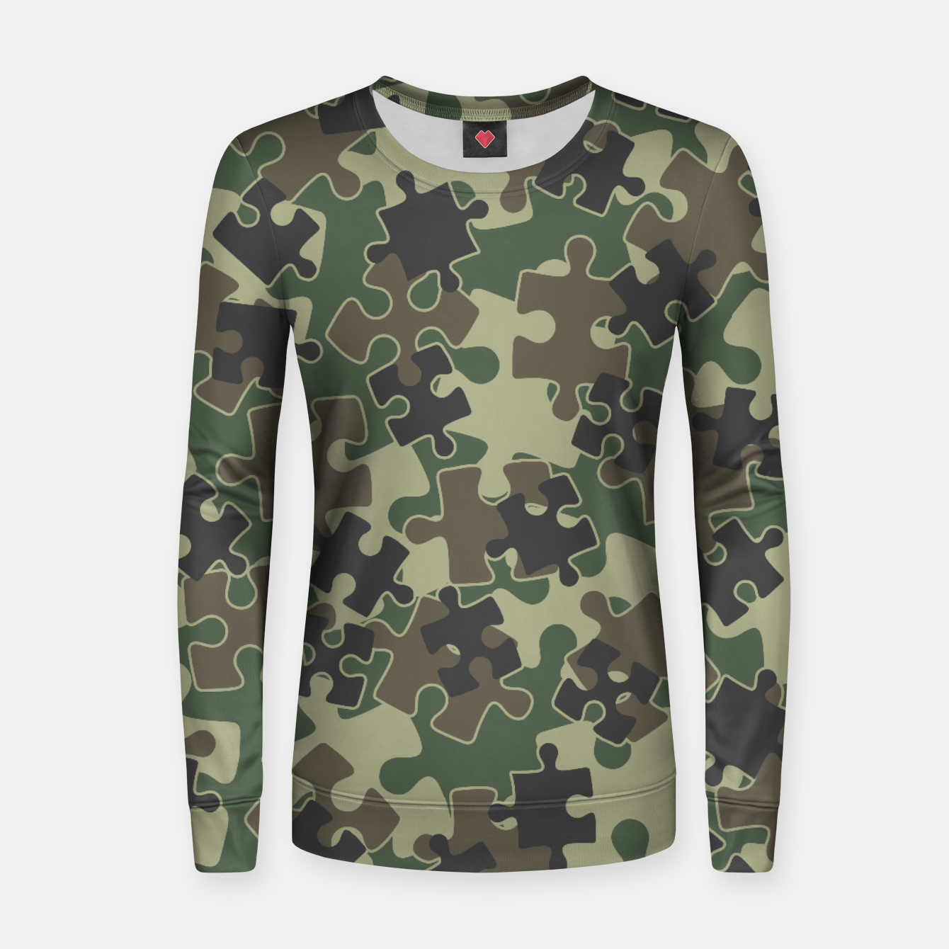 Image of Jigsaw Puzzle Pieces Camo WOODLAND GREEN Women sweater - Live Heroes