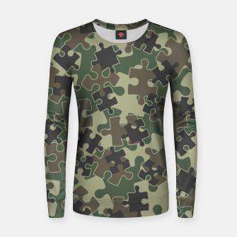 Miniatur Jigsaw Puzzle Pieces Camo WOODLAND GREEN Women sweater, Live Heroes